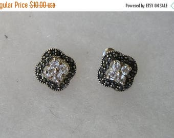 ON SALE Pretty Sterling Marcasite and Cubic Zirconia Earrings