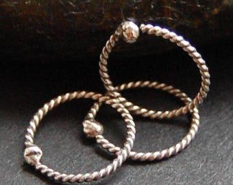 Multiple Piercing Twisted Silver Set of 3 Hoop Earrings *  Cartilage Tragus Daith Helix * Sleeper Hoop Earrings * Choose Your Size