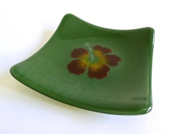 Green Fused Glass Hibiscus Plate by BPRDesigns