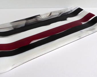 Fused Glass Platter or Plate in Black, White and Red by BPRDesigns