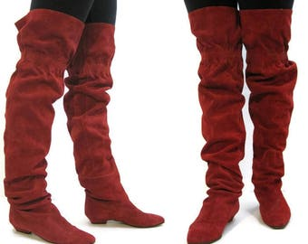 Vintage 80s Boots OTK Thigh High Red Suede Slouchy Pirate Ingledews 8
