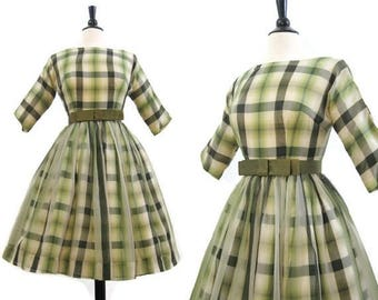 REDUCED 50s 60s Dress Vintage Plaid Chiffon Full Skirt Cocktail New Look S XS