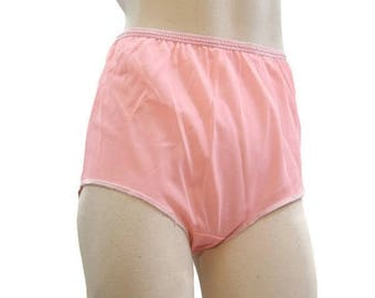 REDUCED Vintage 60s 70s Panties Nylon Full Cut Double Nylon Pink Granny Panty High waist M