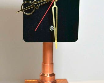 STEAMPUNK DESK clock industrial design Dell copper heat sink recycled up cycled quality USA made movement office  by artist Greg Steele
