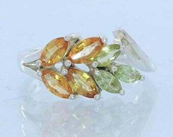 Orange Sapphire Peridot Handmade Sterling 925 Silver Ladies Floral Ring size 7