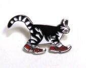 B Kliban Cat Enamel Tie Tack/ Cloisonne Style Brooch/ Tabby in Red Sneakers Lapel Pin