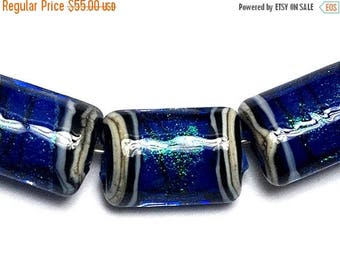 ON SALE 35% OFF Glass Lampwork Bead Set - 10413003 Six Sapphire Sea Shimmer Mini Kalera Beads