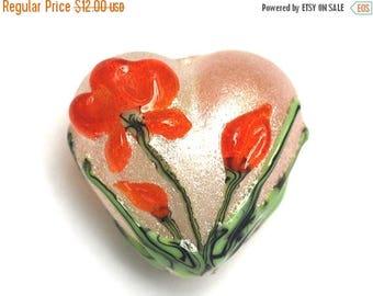 ON SALE 35% OFF Vermilion Flower Heart Focal Bead - Handmade Lampwork Bead - 11832205