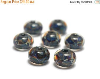ON SALE 30% off Seven Blue-green & Purple Rondelle Beads - Handmade Glass Lampwork Bead Set 10408801