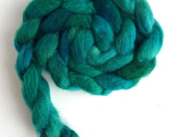 BFL Wool Roving - Hand Painted Spinning or Felting Fiber, Racing Green