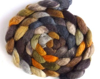 Wood and Concrete, BFL Wool Roving - Hand Painted Spinning or Felting Fiber