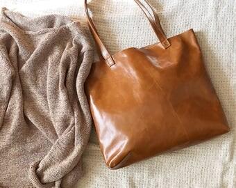 Caramel Medium Leather Tote