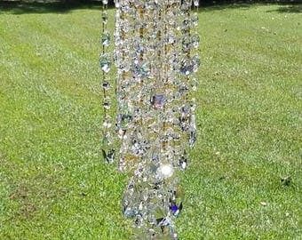 Antique Crystal Wind Chime, Iridescent Crystal Wind Chime, Aurora Borealis Crystal Wind Chime, Crystal Art, Garden Art, Waterfall Wind Chime