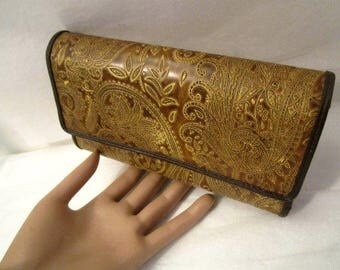 Wallet Clutch, Tooled Faux Leather Wallet, Paisley design, cards and change women wallet