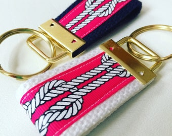 Hot Pink Nautical Rope Ribbon Keyfob, Summer Keychain, Lip Balm Holder, Beach Bag Accessory, Rope, Boat Keychain, Summer Keyfob, keychain