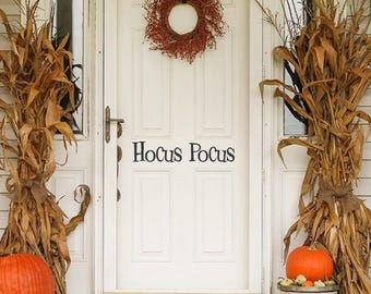 Hocus Pocus, Halloween Door Decoration Custom Vinyl letters Decal Wall Words Lettering Front Door Curb Appeal Entryway Fall