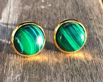 Malachite earrings. Malachite stud earrings, malachite post earrings, green earrings, bridesmaid gift, boho jewelry