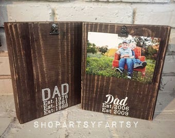 Father's Day picture frame stained photo block with Dad, established with your year holds up to 5X7 pictures