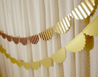 Gold Wedding Decor, Scalloped Garland, Kraft and Gold Foil Paper Garland, Natural Bridal Shower Decoration, Wedding Reception