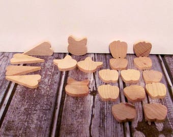 Lara's Crafts American Made Wood Parts Hearts, Cat Heads and Apples