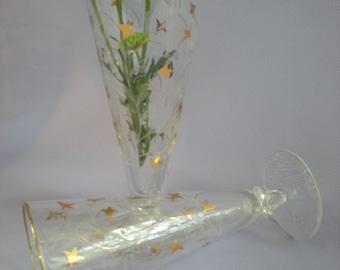 Toasting Glasses, Toasting Flutes, Champagne Glasses, Champagne Flutes, TWO Glasses, Vintage Glassware