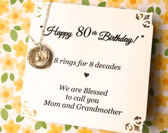80th BIRTHDAY Gift for Mom Eightieth Birthday for Grandma 8th Anniversary Gift POEM Sterling Silver 8 Rings for 8 Decades Connected Rings
