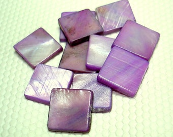 Purple Square Mother of Pearl 12mm Beads (Qty 10) - B3382