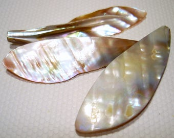 Natural Mother of Pearl 20x60mm Pendants (Qty 3) - B3448