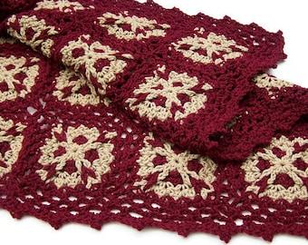 Crochet Lap Blanket - Lapghan - Throw - Black Cherry - Taupe
