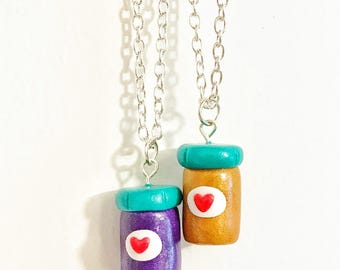 Best Friend Peanut Butter and Jelly Jar Polymer Clay, BFF Charm Necklaces, Kawaii Necklaces
