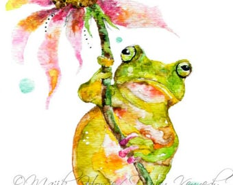 Frog Art, Frog Print, Frog, Frog Painting, Watercolor Print, Nursery Art, Animal Art, Totem Animal Art, Spirit Animal, Cute Art, Majik Horse