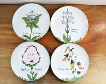vintage 70s Franci Villa Vanilla Edward Lear Nonsense Botany Humorous Plate Set of 4 Salad Dinner Plates by Taste Setter
