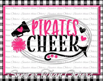 Cheer SVG, Pirates Cheer Svg, Cheerleader Svg Pirates Cheerleader pattern Vinyl Design SVG DXF Silhouette, Cameo, Cricut, Instant Download