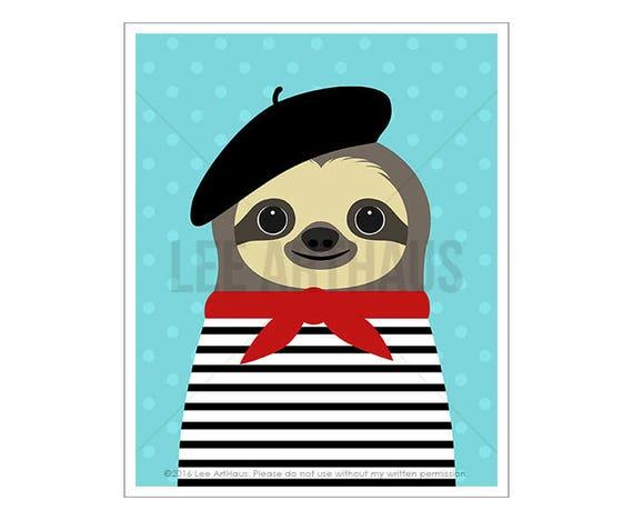 46J Sloth Artwork - French Sloth Wall Art- Whimsical Animal Drawing - Modern Animal Decor - Sloth Lover Gift - Sloth Portrait - French Gift
