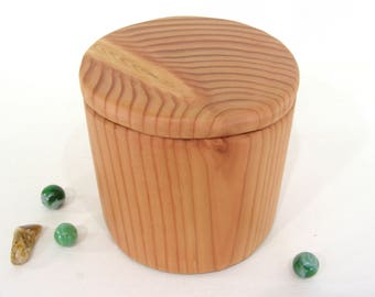 Douglas Fir Box, wood urn, groom gift, valet box, 5th anniversary, small cremation urn, wooden jewelry box, wood jar, pet urn, gratitude box