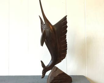 vintage wood sculpture - carved Marlin fish figure