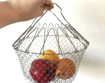wire egg basket - collapsible metal gathering basket - french farmhouse kitchen