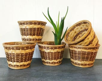 woven planter baskets - small round brown boho - indoor planters - Set of 5