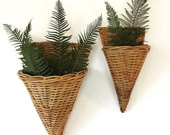 woven rattan wall baskets - metal lined hanging cone planters - boho basket wall decor - Set of 2