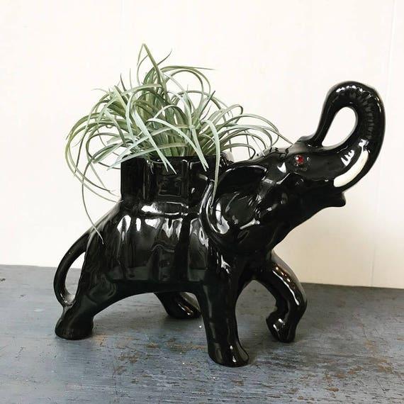 ceramic elephant candle holder - black elephant planter - animal statue figurine - boho asian chinoiserie