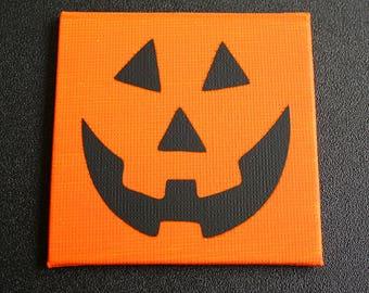 Pumpkin Face Mini Canvas Magnet - Three by Three Inch - Jack-o-lantern Face