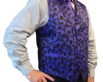 RokGear Skull Vest design - Men's formal vest waistcoat - LIMITED hand inked Skull Vest by RokGear design