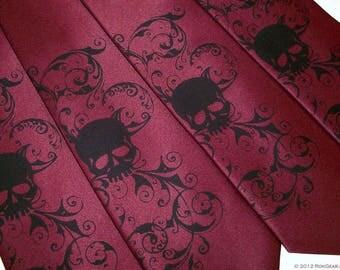 Mens Burgundy necktie Distressed skull design by RokGear hand print silk screen