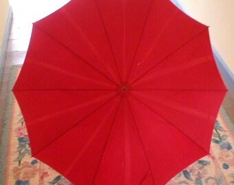 Vintage Umbrella Red 1930s-40s Lucite Handle Antique Parasol