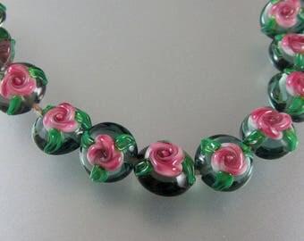 Lampwork Beads-Glass Beads-Pair-Lentil-Chintz Rose-Rose Beads-Lampwork-Artisan-Handmade-Bead-Lentil Beads-Glass Beads-Lampwork Glass Beads