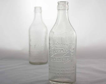 Vintage Bottle Collection - Apothecary Bottles - Citrate Magnesia Solution - Clear Glass Bottles - Pharmacy - Set of 2 - Instant Collection