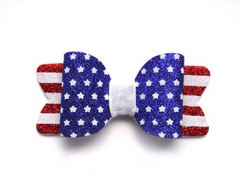 50% OFF 4th of July Stars and Stripes Glitter Bow