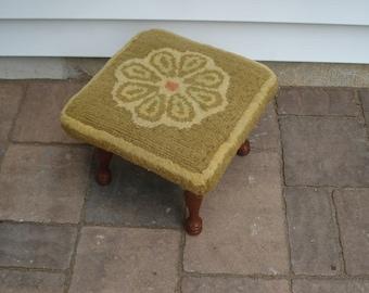 Charming vintage footstool - original fabric