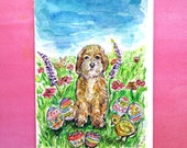 Easter Cockapoo Card, Hand Painted Cards, Cockapoo Painting, Original Watercolor, Spring Card, Easter Dog, Bunny. Flowers. Eggs, Chick