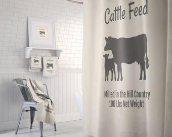 Cow Shower Curtain Farmhouse Chic Faux Feed Bag ,  Bath Mat, Bath Towels Grunge